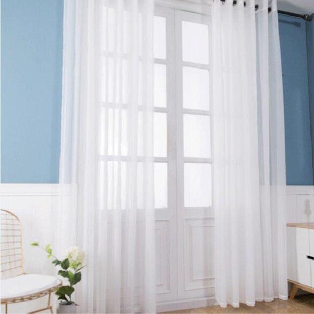 Stile europeo e Americano tende per il salone Finestra bianca di Screening Tende Porta Solido Drape Pannello Sheer Tulle W184 #10