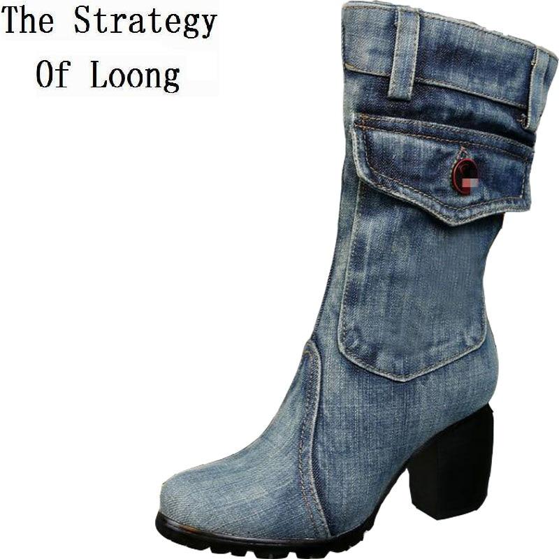 Women Thick Heels Blue Denim Half Boots Lady Winter Short Plush Thick Warm Mid Calf Crystal