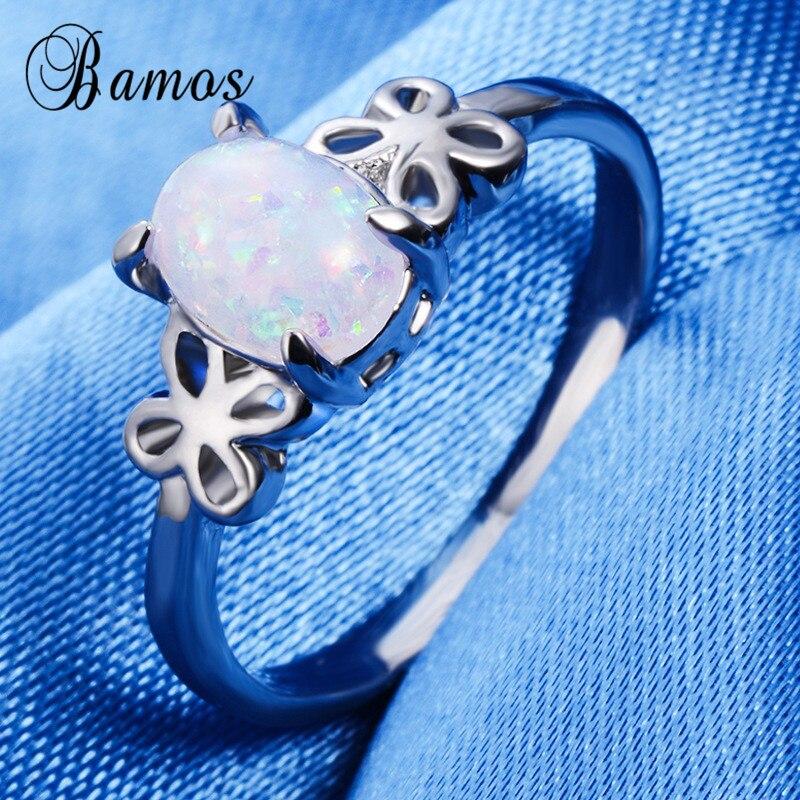 Бамос простой белый огненный опал палец кольцо из белого золота Цвет бабочка обещание Кольца для Для женщин модные свадебные украшения Инт...