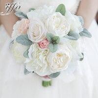 אדמונית זר ורוד שנהב עלה מחזיק פרחים אדמונית משי אדמונית לבן סומק ורוד זר החתונה Brida Bouquetes דקור