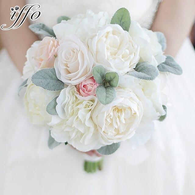 Peony Bouquet Ivory Pink Rose Blush Holding Flowers Silk White Wedding Bride Brida