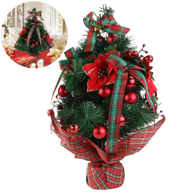 Christmas Tree Bows Decorations: 18inch Mini Desktop Table Top Decorated Christmas Tree