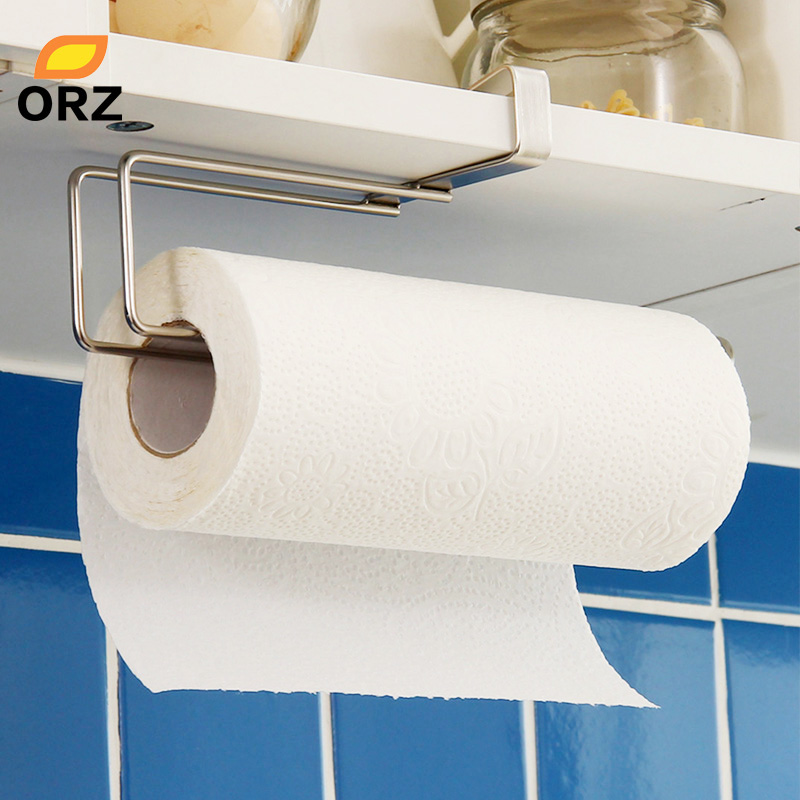 Kitchen Paper Holder Hanger Tissue Roll Towel Rack Bathroom Toilet Sink Door Hanging Organizer Storage Hook Holder Rack