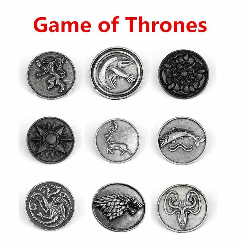 Nieuwe Game Of Thrones Daenerys Targaryen Cosplay Accessoires Negen Negen Familie Schrikwolf Dragon Badge Vintage Coin Metal Broche Pin