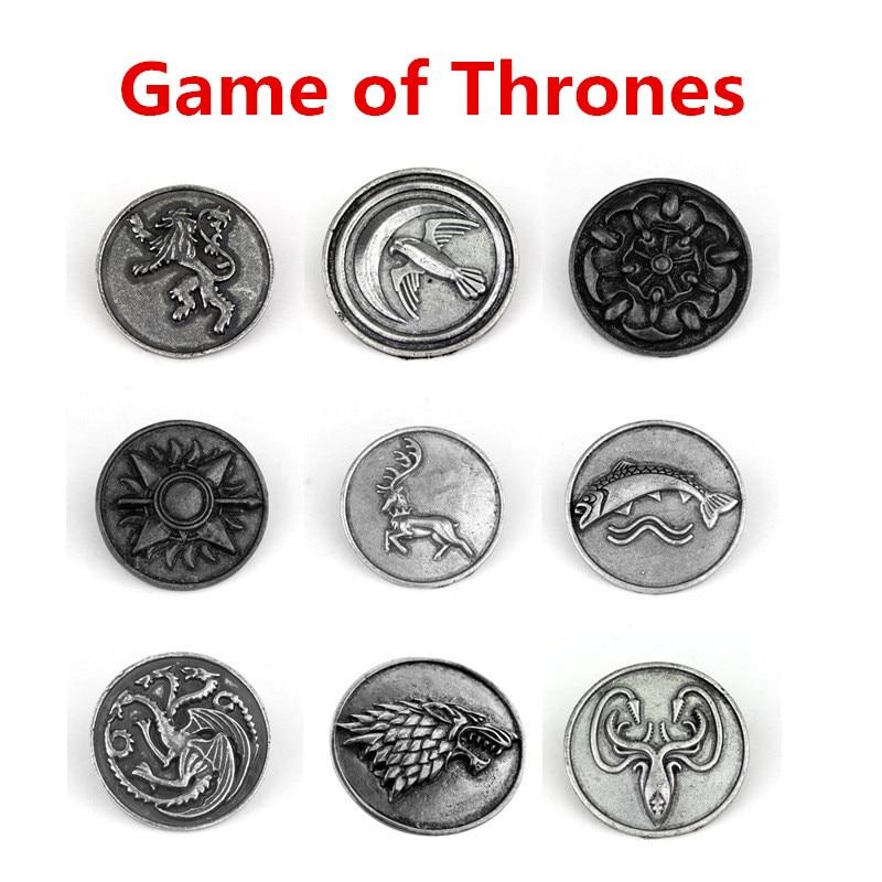 New Game of Thrones Daenerys Targaryen Cosplay Accessories Nine Nine Family Direwolf Dragon Badge Vintage Coin Metal Brooch Pin(China)