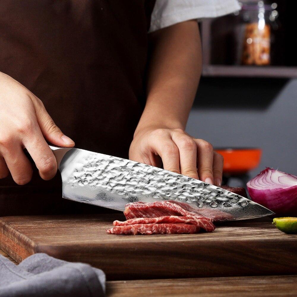 """Ev ve Bahçe'ten Mutfak Bıçakları'de Sunnecko 8 """"şef bıçağı Japon AUS 10 Çekirdek Çekiç şam çeliği bıçak G10 Kolu Mutfak şefin Pişirme Bıçağı Et Keskin Kesim'da  Grup 3"""