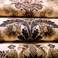 European Luxury High Grade Thickening Embossed Relief 3d Stereoscopic Wallpaper Damascus Living Room TV Backdrop Wallpaper