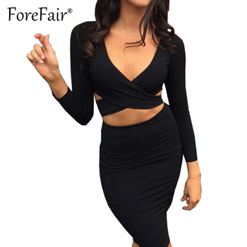 Forefair Sexy Criss Cross V Neck Bodycon Dress Women Autumn Winter Long Sleeve Night Club Wear Party Dresses Vestidos de festa 2
