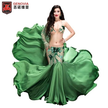 Women Belly Dance Costumes Dutterfly embroidery Professional Halloween Christmas Party Dancing Wear 2 Pcs Set Outfit Bra + Skirt