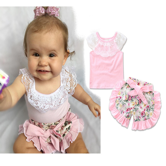 2017 ins baby girl clothing set sleevelss lace T-shirt+flower short pants Infant bebe girl clothes set toddler cloth set bebe