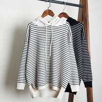 Fashion Thick Warm Sweaters Pullovers Women 2018 Autumn Winter New Female O neck Hooded Striped Knitted Long Sleeve Sweaters