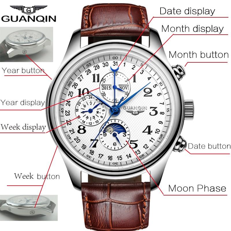 GUANQIN Relogio Masculino automatyczne mechaniczne zegarki męskie wodoodporny kalendarz księżyc zegarek z paskiem skórzanym otomatik erkek saat w Zegarki mechaniczne od Zegarki na  Grupa 2