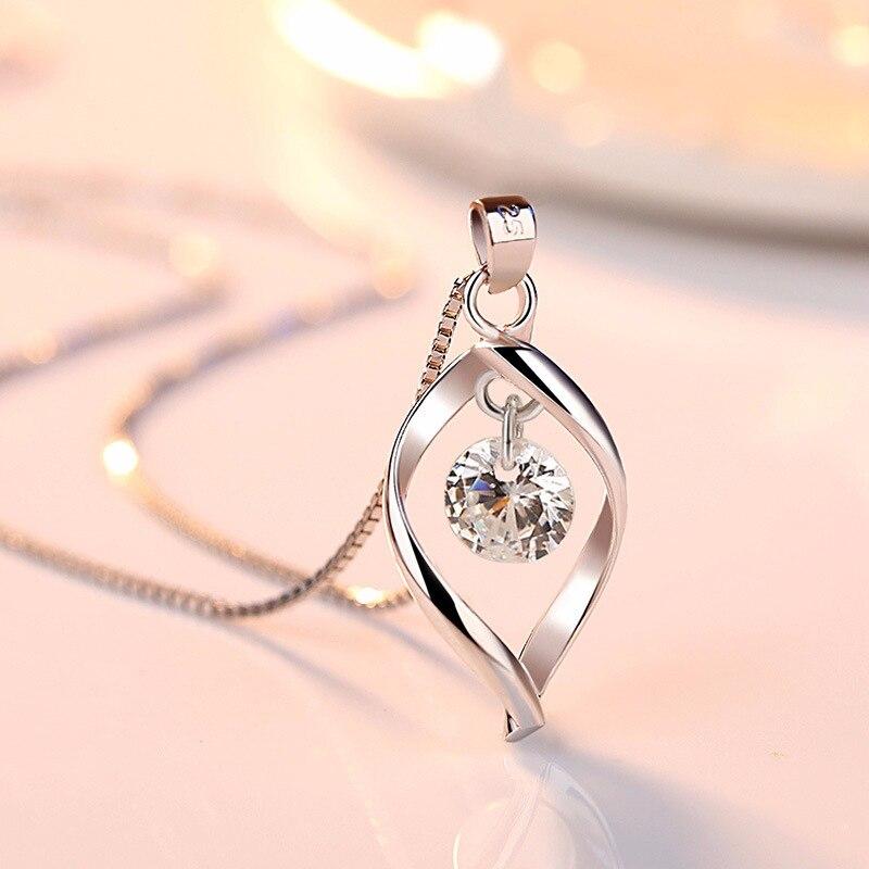 2019 Elegante 925 Sterling Silber Aaa Zirkon Anhänger Halsketten Frauen Schmuck Minimalistischen Twist Design Kristall Halsketten & Anhänger