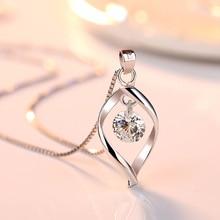 2019 elegante Plata de Ley 925 AAA circón colgante collares mujeres joyería minimalista diseño de torsión collares y colgantes de cristal