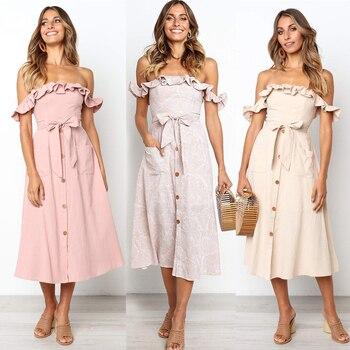 d209493f5 Vestido de verano Sexy sin espalda para mujer 2019 volantes de hombro de playa  vestido botones sin tirantes vestido largo Boho Midi vestido de mujer