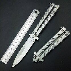 سكين على شكل فراشة مطلي بالتيتانيوم الفضي سكين التدريب والطي على شكل فراشة غير حادة أدوات ممارسة الحافة