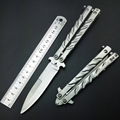 Butterfly in Knife Silver Titanium Coated Training Folding Knife Butterfly Not Sharp Butterfly No Edge Practice Tools