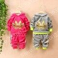 Niños/Niñas Primavera/Otoño chándal 2 unids/set trajes ropa para niños roupas infantis menino infantil chicos escudo + los juegos de pantalones