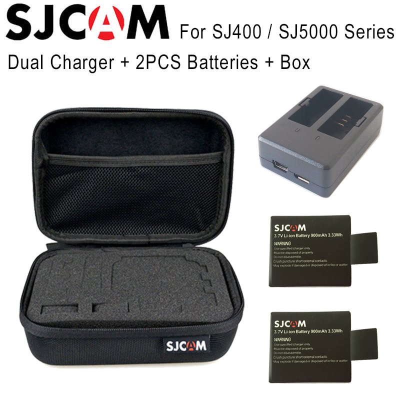 Original 2PCS SJCAM Battery 900mAh Li-ion Battery + SJCAM Dual Charger + SJCAM Medium Size Storage Box For SJ4000 SJ5000 Series