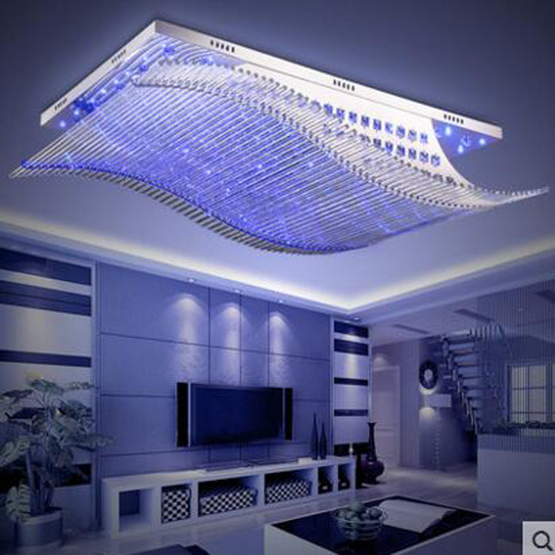 Rectangular living room lamps modern crystal ceiling lamp atmosphere led bedroom restaurant study lighting LED ceiling lighting rectangular living room lamp modern minimalist bedroom led crystal ceiling lamps creative personality hall restaurant lighting