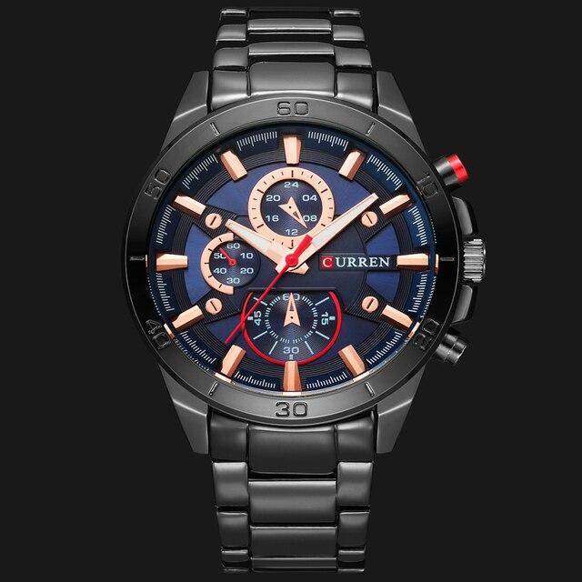 ساعة يد عصرية من CURREN للرجال بعلامة تجارية فاخرة ساعات يد رياضية تناظرية كاجوال من الكوارتز مزودة بشريط من الفولاذ بالكامل ساعة رجالية