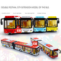 Hot pull back diecast car mini 1:50 scale Double carriage City Bus alloy toys with light and music model for kids gifts