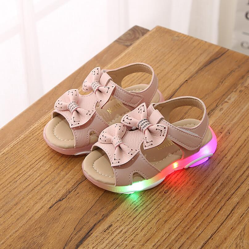 Toddler Sandals For Baby Girl New Summer Children Led Shoes Girls Princess Shoes With Bow Kids Led Sandals Pink White|Sandals| |  - title=