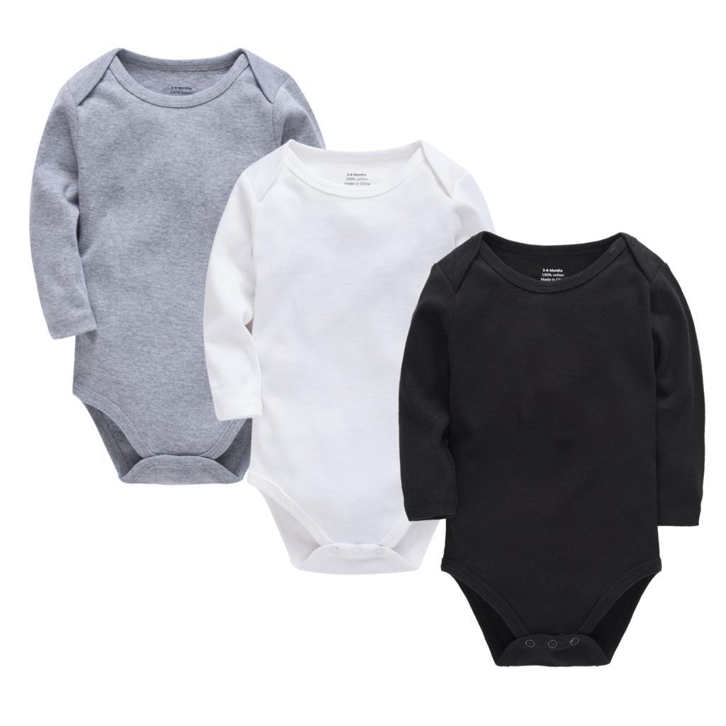 Детские комбинезоны, зимний комбинезон с длинными рукавами для новорожденных, унисекс, 100% хлопок, однотонные, для мальчиков и девочек 0 24 месяцев|Ромперы|   | АлиЭкспресс