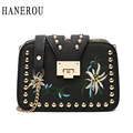 2017 Fashion Embroidery Women Crossbody Bag Rivet Sequined Chains Lady Flap Bag New Spring Messenger Bag Famous Brand Sac A Main