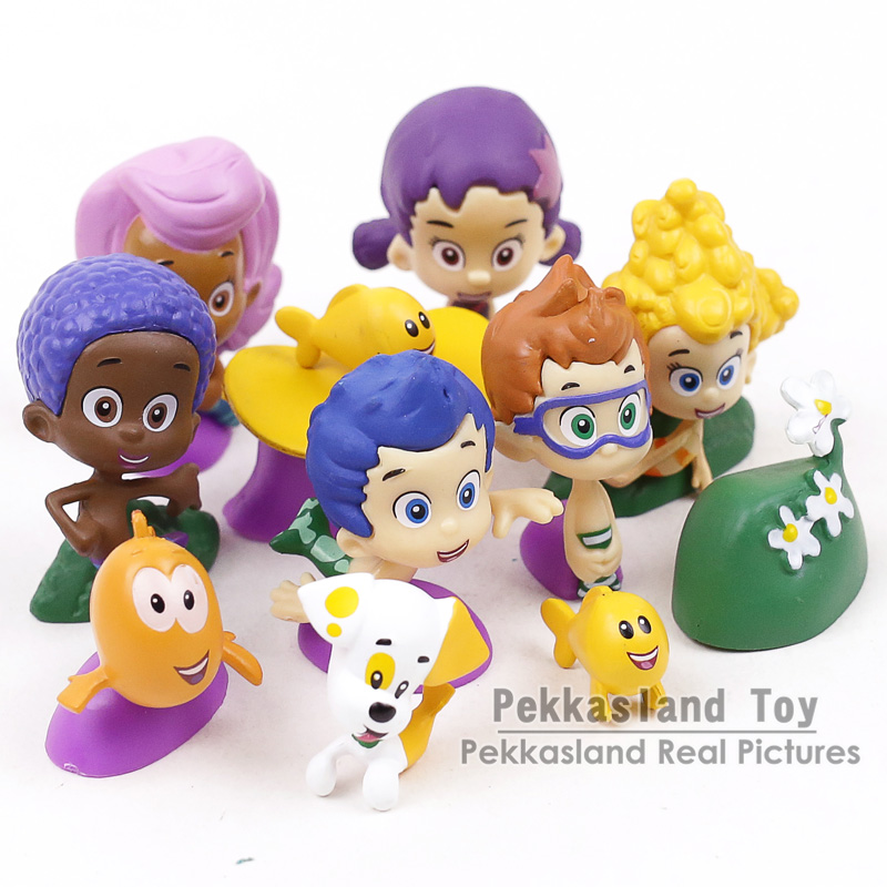 Bubble Guppies Bubble Puppy Goby Deema Gil Oona Underwater Scenery PVC  Figures Kids Toys Gifts 12pcs/set