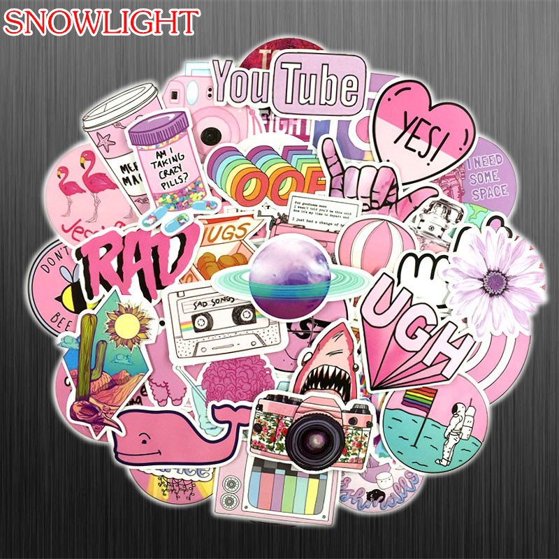 53Pcs/set Pink INS Style Graffiti Girl Sticker For Laptop Luggage Skateboard Phone Motorcycle Refrigerator Stationery Stickers