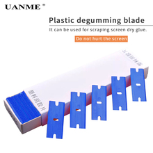 UANME 100pcs Double Edged Razor Blades Scraper Window Glass Car Cleaning Tool Vinyl Film Sticker Glue Remover Squeegee
