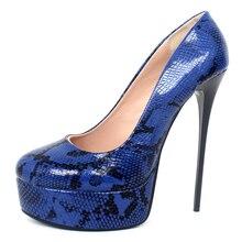 2019 New Arrive High Heels Sexy Snake Pattern 16CM Super High Heel Platform Pumps Round-toe Slip-On Women Nighclub Party Shoes цена в Москве и Питере