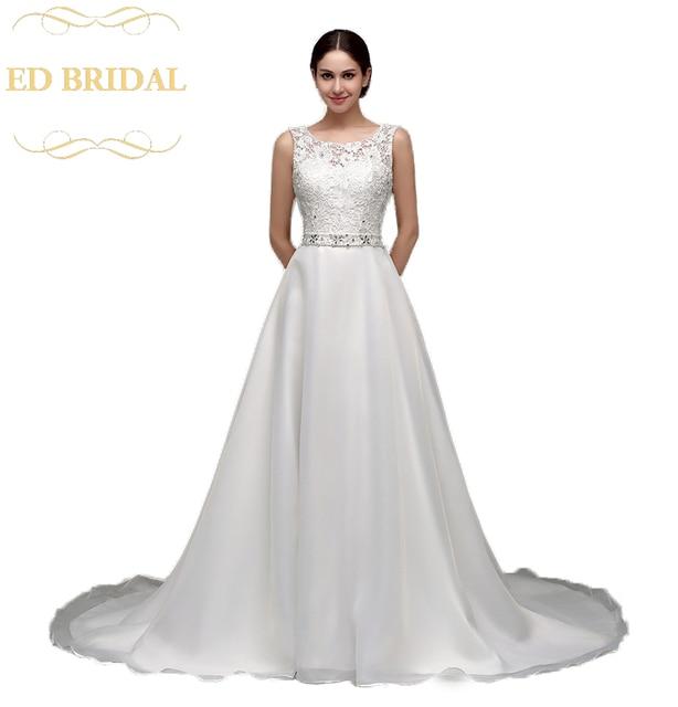 A Line Lace Organza Beaded Belt Wedding Dress Bridal Gown Robe De Marieeus 131 00