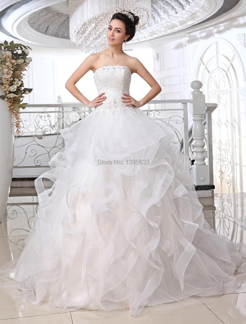 Women Ball Gown Ruffled Full Skirt Wedding Dress Lace Appliques In