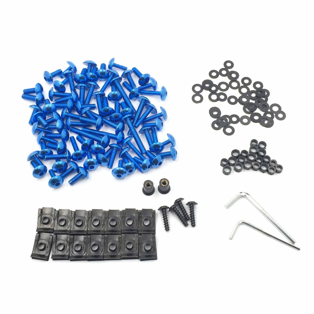 Aftermarket free shipping motorcycle parts Complete Fairing Bolts Screws Fasteners Kit For Yamaha Yzf R1 R6 F6R Fz1 Fz8 Blue universal windshield cnc motorcycle fairing body work fasten bolts screws for yamaha fz1 fazer fz6r fz8 xj6 fz6 mt 09 fz 09