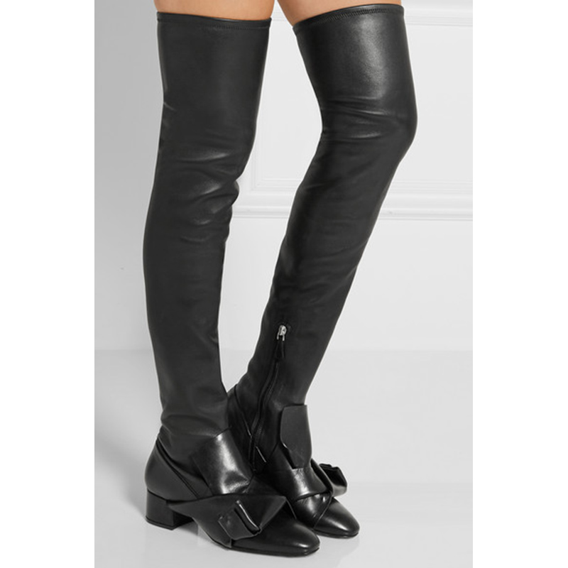 2016 Autumn Winter Female Over-the-knee Boots High-heeled Knee High Boots Fashion Thick Heel Genuine Leather Motorcycle Boots