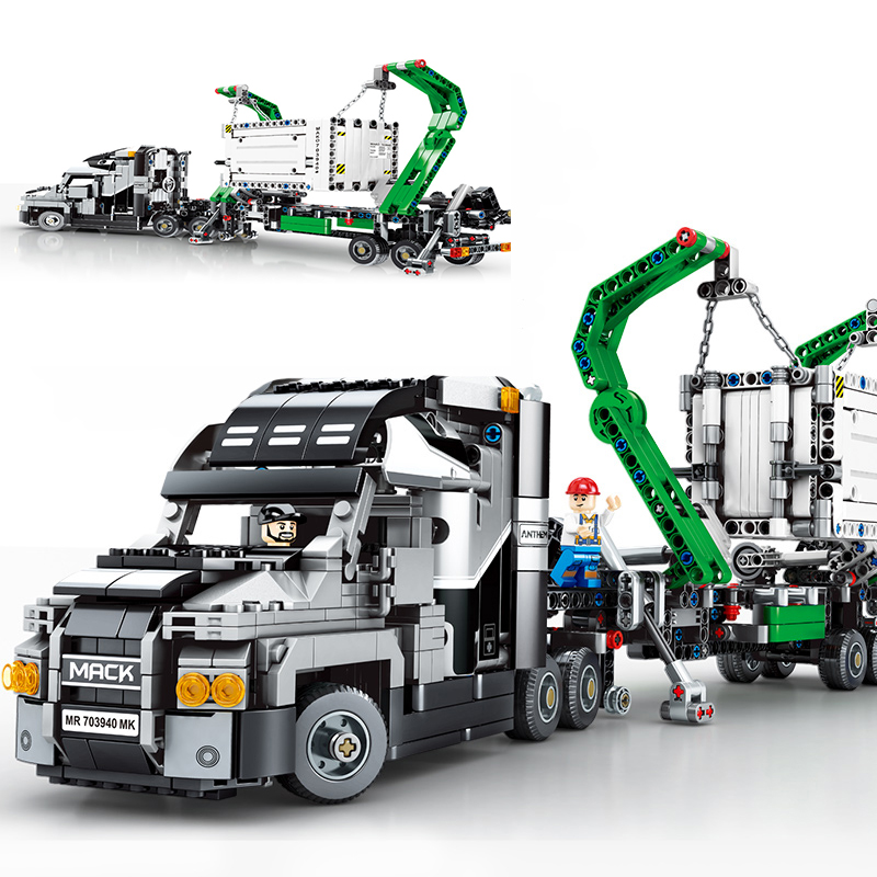 Mack container trucks 1202Pcs Technic Series Building Blocks Compatible with 42078 Set Model Bricks Christmas Gift