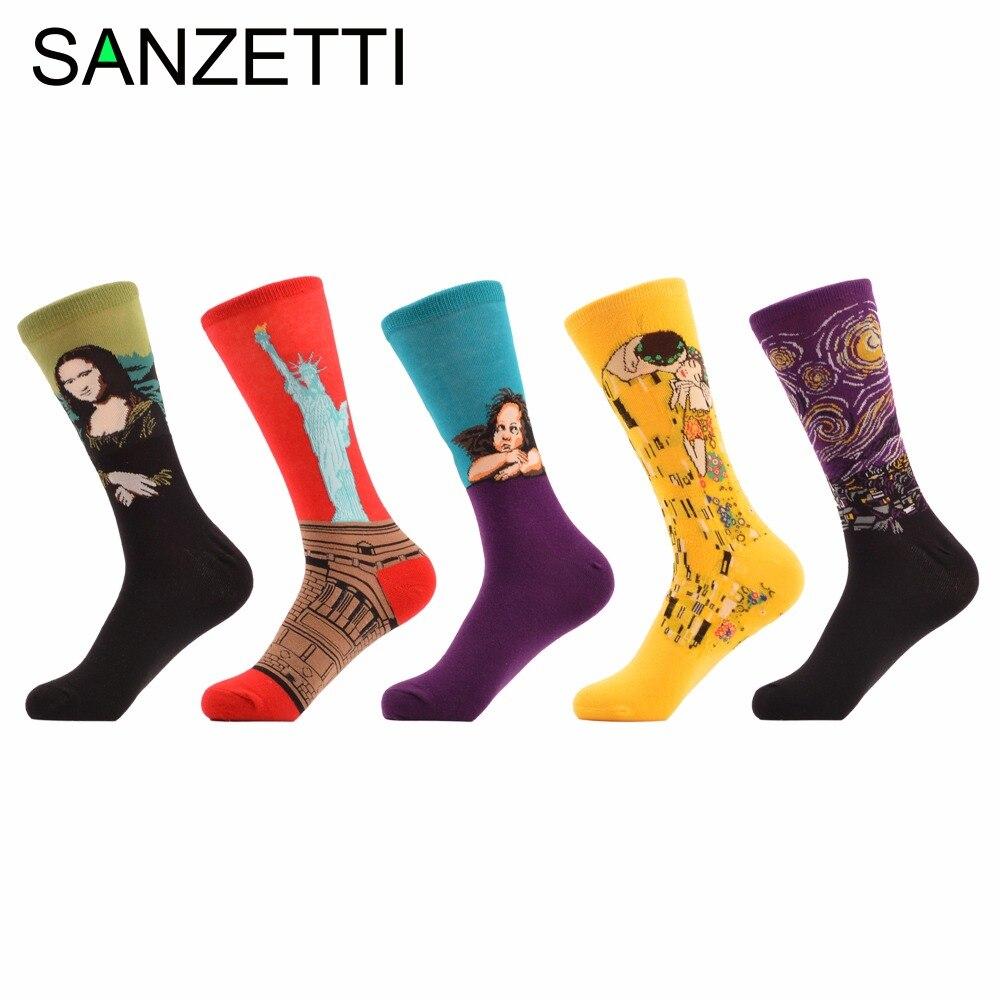 SANZETTI 5 pair/lot Mens Funny Socks European Fashion Men&Women Lover Happy Socks Crew Combed Cotton Long Socks size 7.5-10