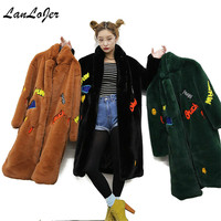 Chic Imitation Rex rabbit cartoon Smile letters pattern plush long Stand up collar thick coat Faux Fur Windbreaker Long Jacket