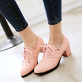 Spring/Autumn women shoes new PU Round Toe ladies Lace-Up black high heels zapatos mujer large size 30-52