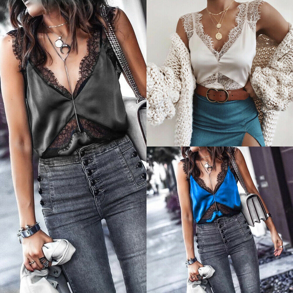 Fashion Women Short Top Summer Casual Camisole Vest Blouse Off Shoulder Sexy Lace Tanks Tops  Ladies Floral Crop Top