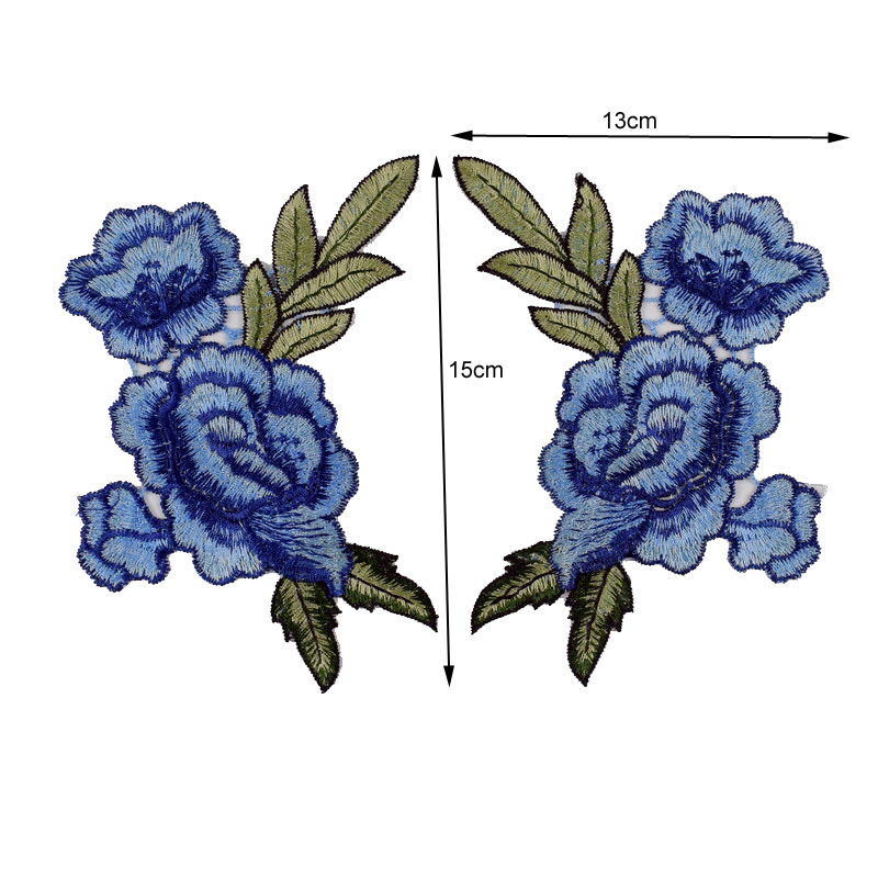 2pc / Set Broderi Rose Flower Sew On / Iron On Patch Applique diy - Konst, hantverk och sömnad - Foto 4
