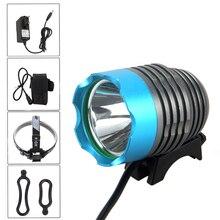 Waterproof Blue 2500 Lumen XM-L T6 LED Headlight Headlamp Bicycle Bike Head Front LED Light Set+Battery+Headlamp+Headband