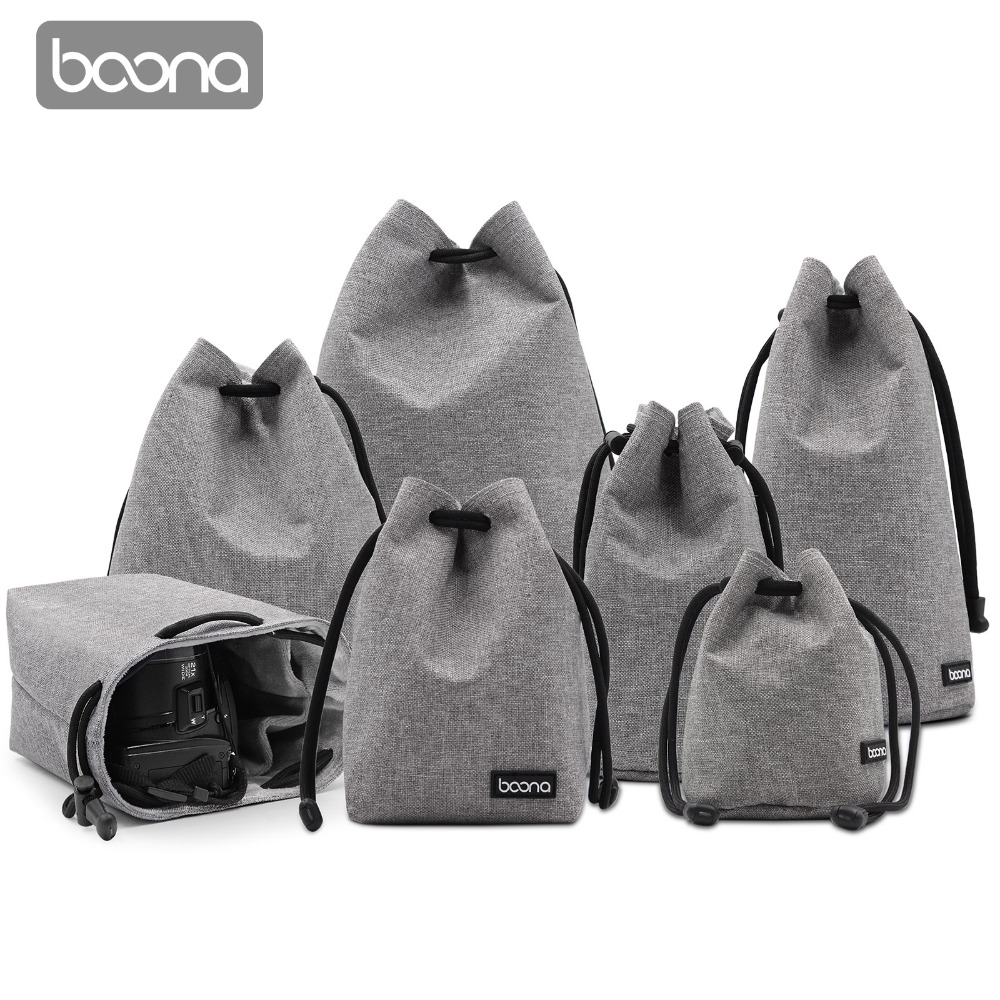 Boona Waterproof Velvet Protect Camera And Lens Bag Case  Drawstring Pouch For DSLR Nikon Canon Sony Pentax Camera And Lens Case