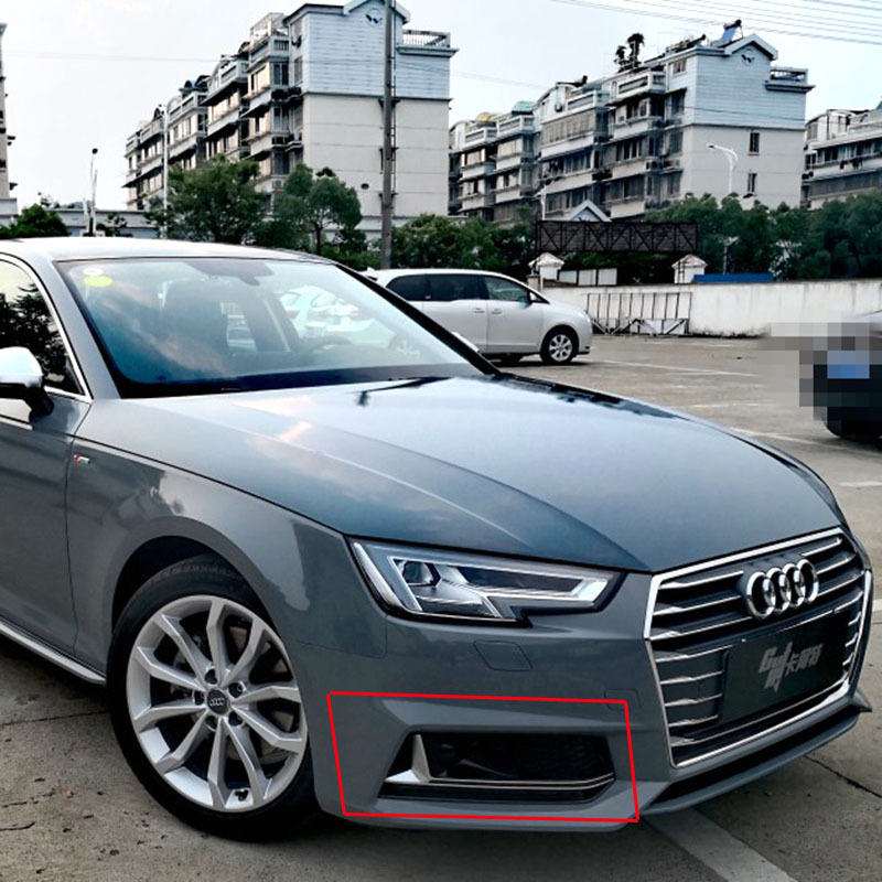 Stainless steel Outer Front Fog Light Lamp Strip Trim For Audi A4 B9 2017-2019