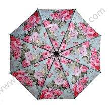 2pcs/lot Three fold umbrella five times black coating anti-uv aluminiu fiberglass superlight Sakura cherry flower pocket parasol