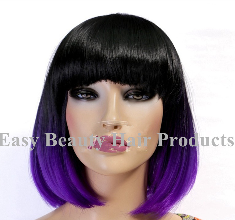 Highlighted Purple Hair Wig Short Wavy Ombre Synthetic Hair Purple Ombre Hair Wigs Two Tone Lace Front Wigs Synthetic Wig Making Wig Hairpiecewig Art Aliexpress