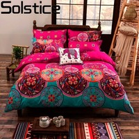 Solstice Bohemia Flowers Duvet Cover Set Flower Printing 4pcs Bed Set Full/Queen/King Size Bed Linen Bedclothes Bedding Sets