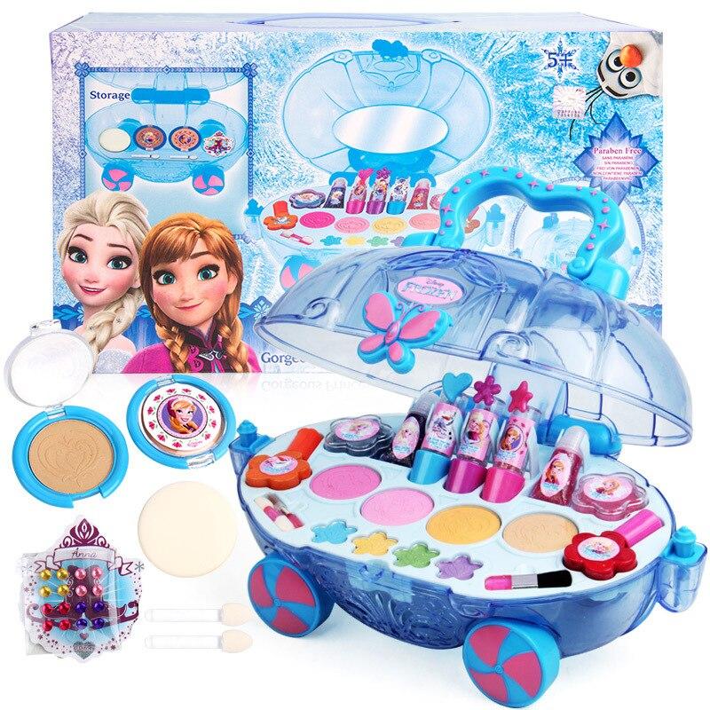2018 New Disney Princess makeup car set children show house makeup box safe non-toxic cosmetics toys girls Lipstick